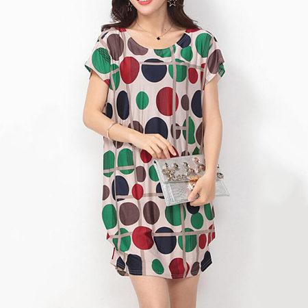 Color Block Polka Dot Round Neck  Shift Dress