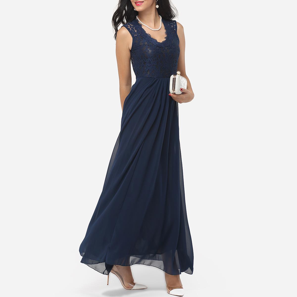 Zips V-Neck Dacron Hollow Out Lace Patchwork Plain Evening Dress