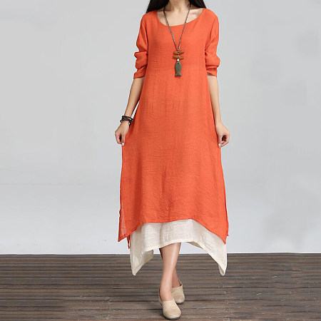 Asymmetric Hem Color Block Double Layer Maxi Dress
