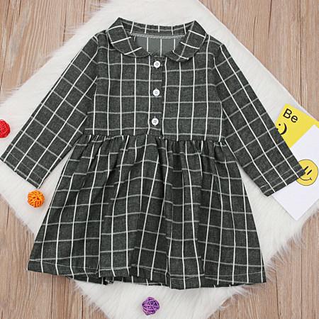 Fashion Fold Over Collar Plaid Bracelet Sleeve Single-Breasted Dress, 8194117