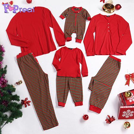 Contrast Stripes Family Pajamas