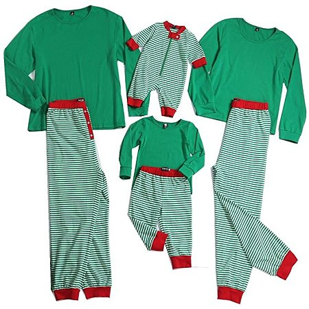 Contrast Stripes Cotton Family Pajamas, 3750235