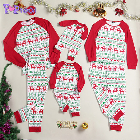 Reindeer Print Long Sleeve Family Christmas Pajamas, 3753791