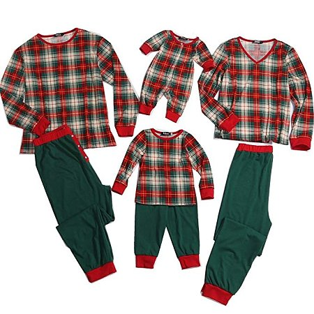 Contrast Plaid Long Sleeve Family Pajamas