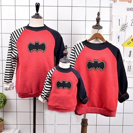 Bat Stripe Patchwork Family Sweatshirt