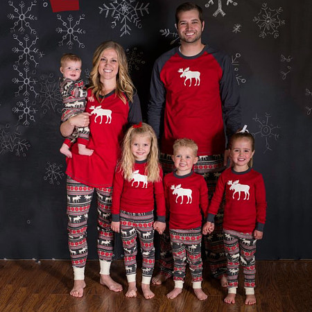 Christmas Reindeer Pattern Color Block Family Pajamas, 3995345