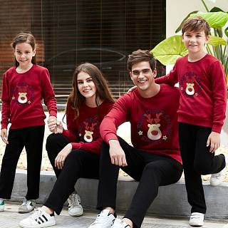 Christmas Reindeer Pattern Family Sweatshirt