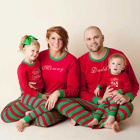 Christmas Letters Pattern Stripes Elastic Waist Family Pajamas, 4029276