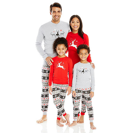 Christmas Reindeer Pattern Stripes Elastic Waist Family Pajamas, 4029390
