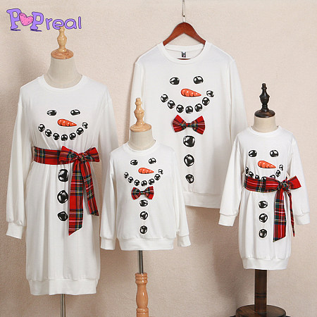 Christmas Snowman Pattern Plaid Round Neck Pullover Family Outfits, 4048211