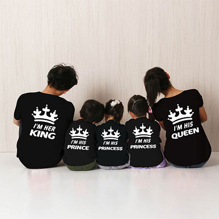 Cartoon Letters Pattern Round Neck Family Outfits, black, FL18010518