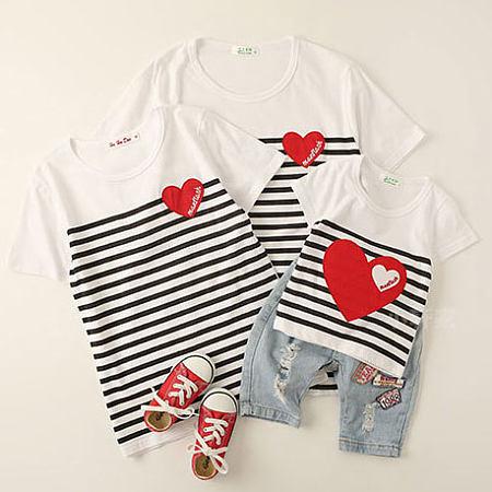 Stripes Heart Pattern Round Neck Family T-Shirt, white, FL18013114
