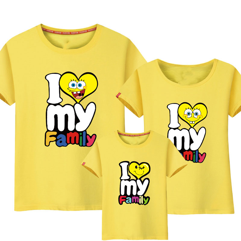 Letters Heart Pattern Family T-Shirt