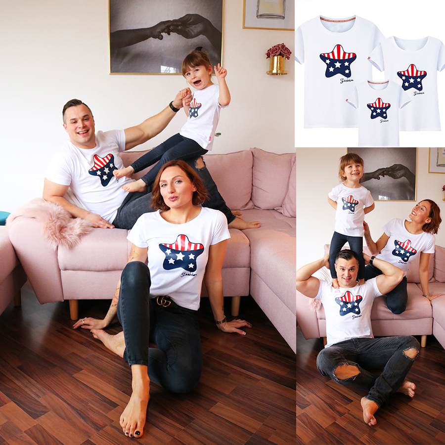 Letters Star Pattern Family T-Shirt