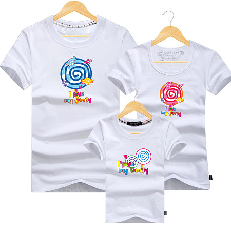 Cartoon Candy Letters Pattern Family T-Shirt