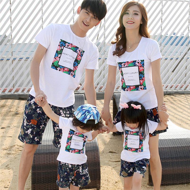 Flower Prints Letters Pattern Family T-Shirt