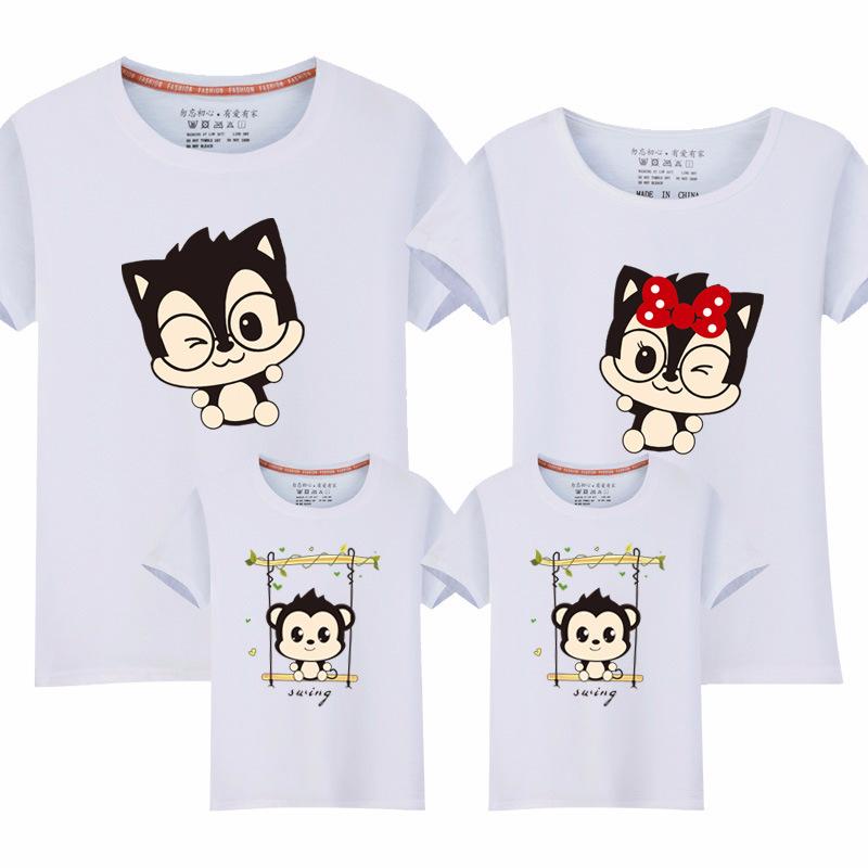 Cartoon Animals Pattern Family T-Shirt
