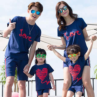 Heart Letters Pattern Family T-Shirt