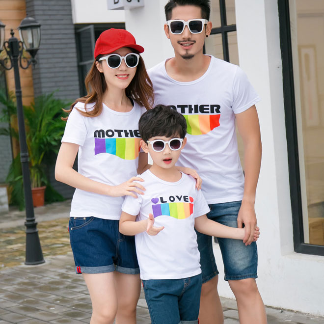 Color Block Letters Pattern Family T-Shirt