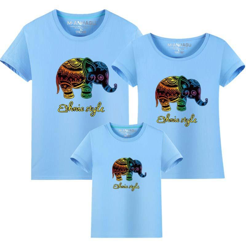 Cartoon Elephant Letters Pattern Family T-Shirt