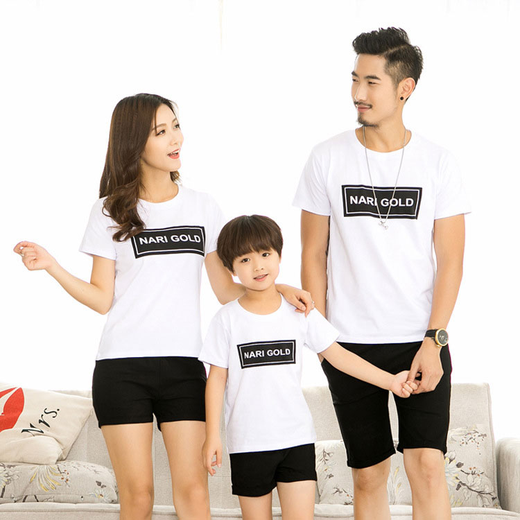 Letters Pattern Round Neck Family T-Shirt