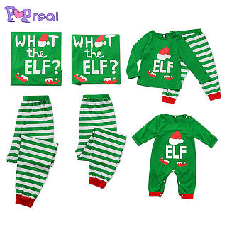 Stripes Letters Christmas Hat Pattern Family Pajamas