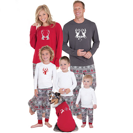 Christmas Reindeer Pattern Elastic Waist Family Pajamas