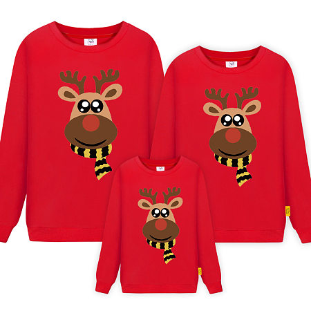Christmas Deer Pattern Round Neck Family Sweatshirt
