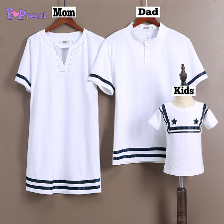 Parents Kids White Stripe Comfortable Cotton Top