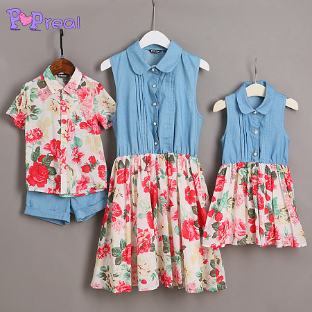 Floral Prints Denim Family Outfits