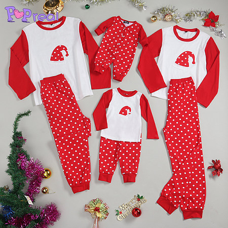 Polka Dots Christmas Hat Prints Family Pajamas