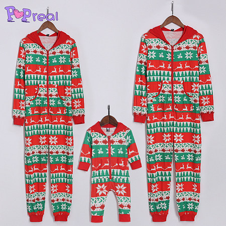 Snow Flakes Reindeer Pattern Family Christmas Hooded Jumpsuits, 3983229