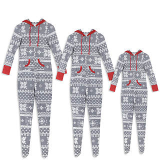 Christmas Snowflake Pattern Color Block Family Pajamas