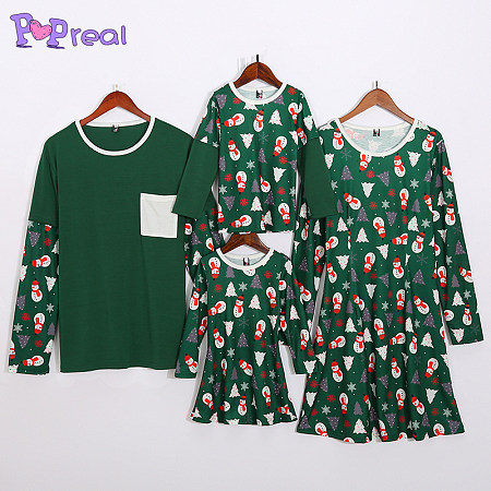 Christmas Tree Snowman Prints Family Outfits
