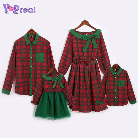 christmas color block plaid family outfits poprealcom