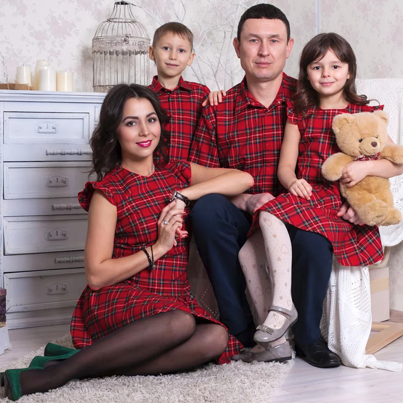 Plaid Falbala Family Outfits