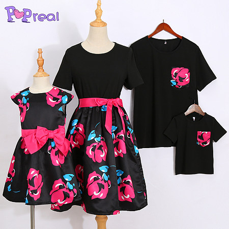 Flower Prints Bowknot Decorate Family Outfits, 5286652
