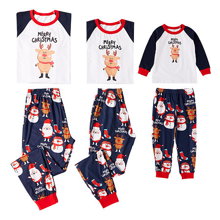 Christmas Cartoon Reindeer Santa Claus Pattern Family Pajamas, 5792187