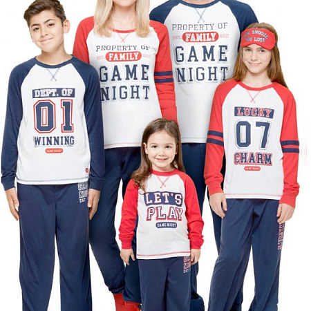 Letter Pattern Color Block Family Matching Pajamas