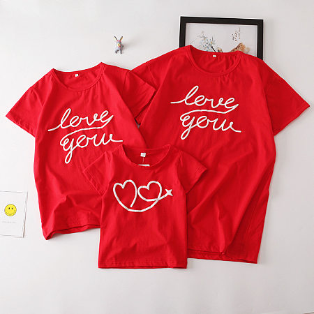 Solid Color Letter Heart Prints Matching Family Top