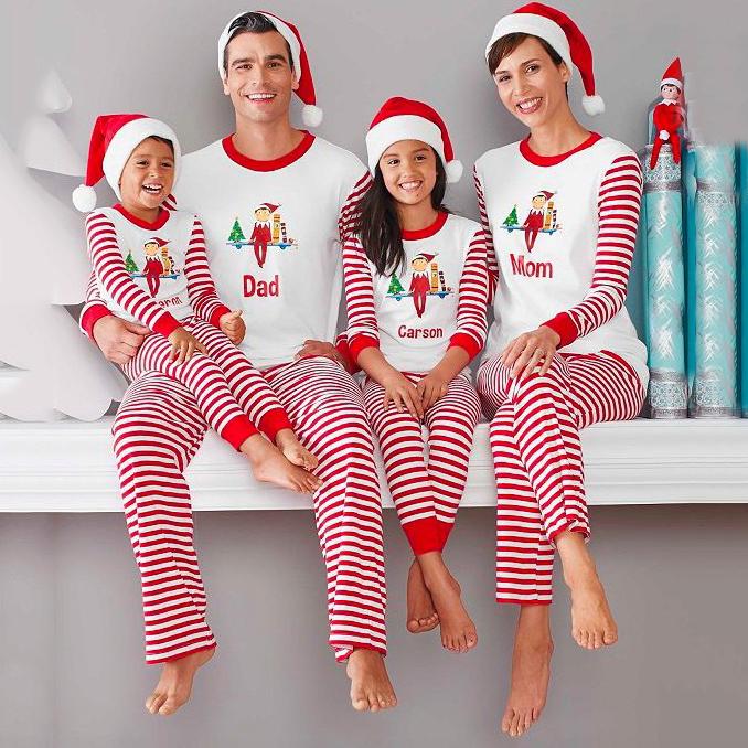 Red Stripes Christmas Long-Sleeve Top And Pants Set Family Matching Pajamas