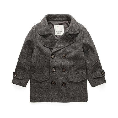Solid Color Notch Collar Woolen Coat