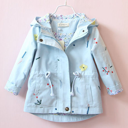 Embroidered Flower Hooded Coat