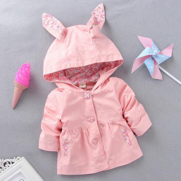 Girls Bunny Ears Hooded Coat