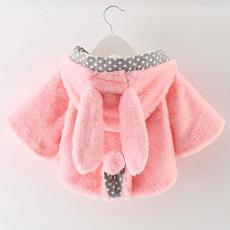 Adorable Bunny Ears Plush Hooded Coat