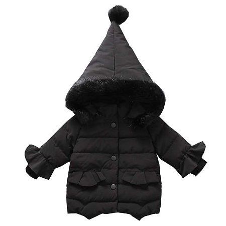 Ruffle Sleeve Zipper Pompon Puffer Coat