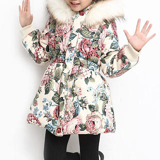 Floral Prints Elastic Waist Hooded Coat
