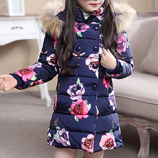 Floral Prints Zipper Hooded Coat
