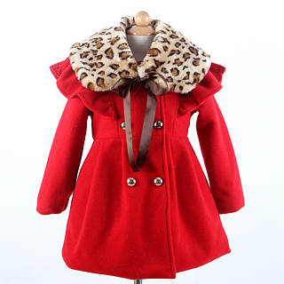 Double-Breasted Leopard Fur Collar Coat