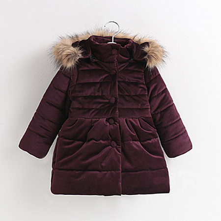 Single-Breasted Fur Hooded Solid Color Warm Coat, 5211010